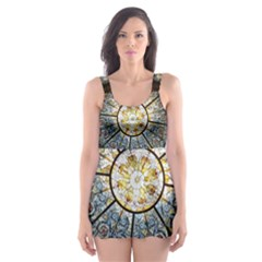 Black And Borwn Stained Glass Dome Roof Skater Dress Swimsuit by Nexatart
