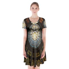 Black And Borwn Stained Glass Dome Roof Short Sleeve V Neck Flare Dress by Nexatart