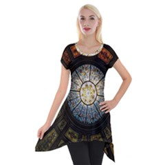 Black And Borwn Stained Glass Dome Roof Short Sleeve Side Drop Tunic by Nexatart