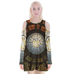 Black And Borwn Stained Glass Dome Roof Velvet Long Sleeve Shoulder Cutout Dress