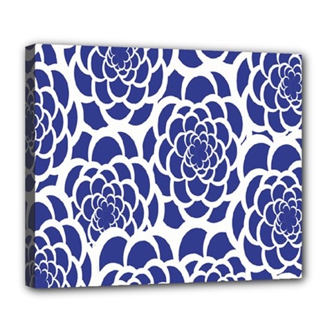 Blue And White Flower Background Deluxe Canvas 24  X 20   by Nexatart