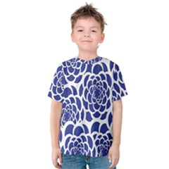 Blue And White Flower Background Kids  Cotton Tee by Nexatart