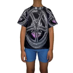 Bord Edge Wheel Tire Black Car Kids  Short Sleeve Swimwear by Nexatart