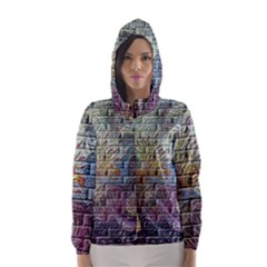 Brick Of Walls With Color Patterns Hooded Wind Breaker (women)