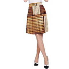Brown Wall Tile Design Texture Pattern A Line Skirt by Nexatart