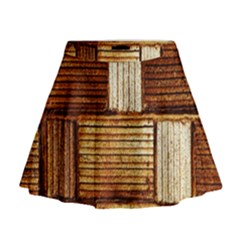 Brown Wall Tile Design Texture Pattern Mini Flare Skirt