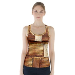 Brown Wall Tile Design Texture Pattern Racer Back Sports Top by Nexatart