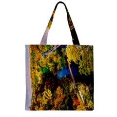 Bridge River Forest Trees Autumn Zipper Grocery Tote Bag by Nexatart