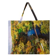 Bridge River Forest Trees Autumn Zipper Large Tote Bag by Nexatart