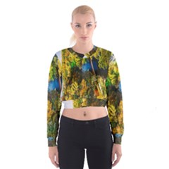 Bridge River Forest Trees Autumn Women s Cropped Sweatshirt by Nexatart