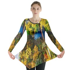Bridge River Forest Trees Autumn Long Sleeve Tunic