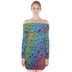 Bubbles Rainbow Colourful Colors Long Sleeve Off Shoulder Dress by Nexatart
