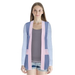 Snow And Lavender Sunset Drape Collar Cardigan by SusanFranzblau