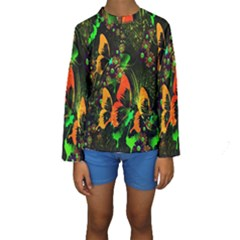 Butterfly Abstract Flowers Kids  Long Sleeve Swimwear