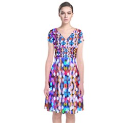 Bokeh Abstract Background Blur Short Sleeve Front Wrap Dress