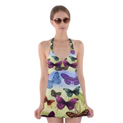 Butterfly Painting Art Graphic Halter Swimsuit Dress by Nexatart