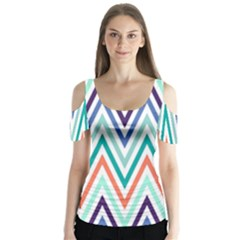 Chevrons Colourful Background Butterfly Sleeve Cutout Tee