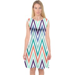 Chevrons Colourful Background Capsleeve Midi Dress by Nexatart