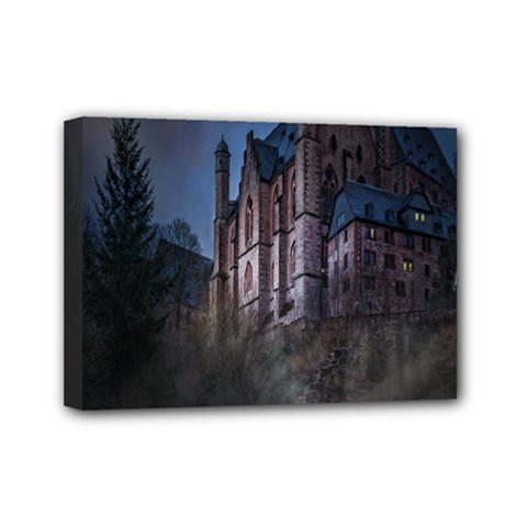 Castle Mystical Mood Moonlight Mini Canvas 7  X 5  by Nexatart