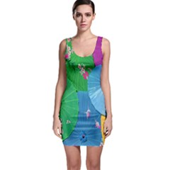 Chinese Umbrellas Screens Colorful Sleeveless Bodycon Dress by Nexatart