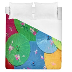Chinese Umbrellas Screens Colorful Duvet Cover (queen Size) by Nexatart