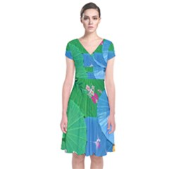 Chinese Umbrellas Screens Colorful Short Sleeve Front Wrap Dress