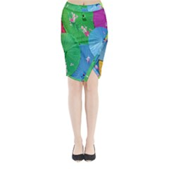Chinese Umbrellas Screens Colorful Midi Wrap Pencil Skirt by Nexatart