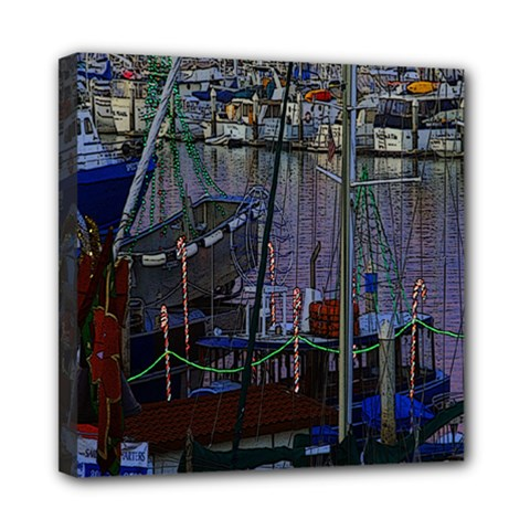 Christmas Boats In Harbor Mini Canvas 8  X 8  by Nexatart