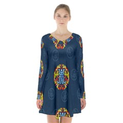 China Wind Dragon Long Sleeve Velvet V-neck Dress by Nexatart