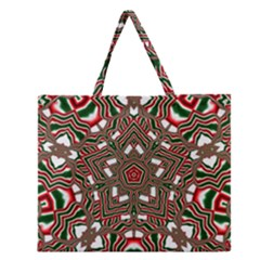 Christmas Kaleidoscope Zipper Large Tote Bag