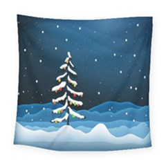 Christmas Xmas Fall Tree Square Tapestry (large) by Nexatart