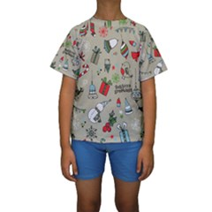 Christmas Xmas Pattern Kids  Short Sleeve Swimwear by Nexatart