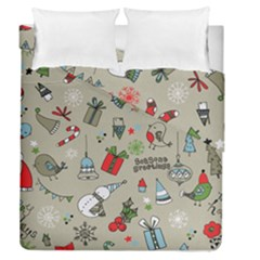 Christmas Xmas Pattern Duvet Cover Double Side (queen Size) by Nexatart