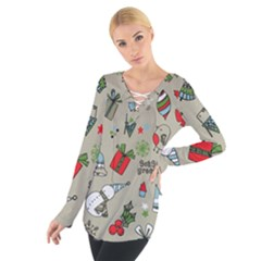 Christmas Xmas Pattern Women s Tie Up Tee by Nexatart