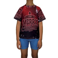 Christmas Contemplative Kids  Short Sleeve Swimwear by Nexatart