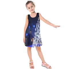 Christmas Card Christmas Atmosphere Kids  Sleeveless Dress