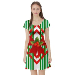 Christmas Gift Wrap Decoration Red Short Sleeve Skater Dress by Nexatart