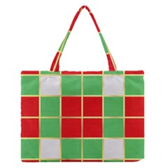 Christmas Fabric Textile Red Green Medium Zipper Tote Bag