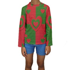 Christmas Fabric Hearts Love Red Kids  Long Sleeve Swimwear by Nexatart