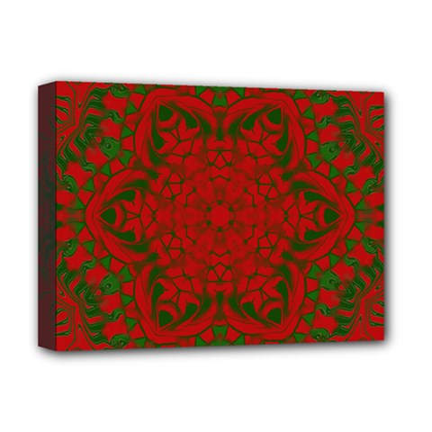 Christmas Kaleidoscope Art Pattern Deluxe Canvas 16  X 12