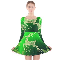 Christmas Reindeer Happy Decoration Long Sleeve Velvet Skater Dress
