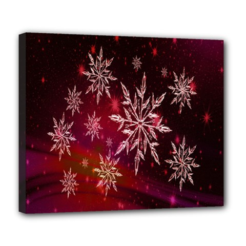 Christmas Snowflake Ice Crystal Deluxe Canvas 24  X 20   by Nexatart