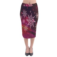 Christmas Snowflake Ice Crystal Velvet Midi Pencil Skirt