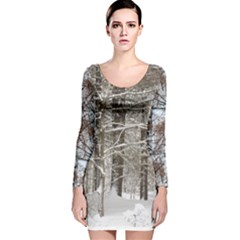 Branches In The Snow Long Sleeve Velvet Bodycon Dress by SusanFranzblau