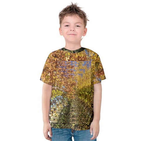 Autumn Leaves Op Art Kids  Cotton Tee by SusanFranzblau
