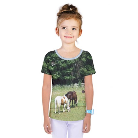 Horses, Rabbit, & Sleeping Cat Kids  One Piece Tee by SusanFranzblau
