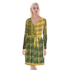 Vermont Autumn Tree Op Art Long Sleeve Velvet Front Wrap Dress