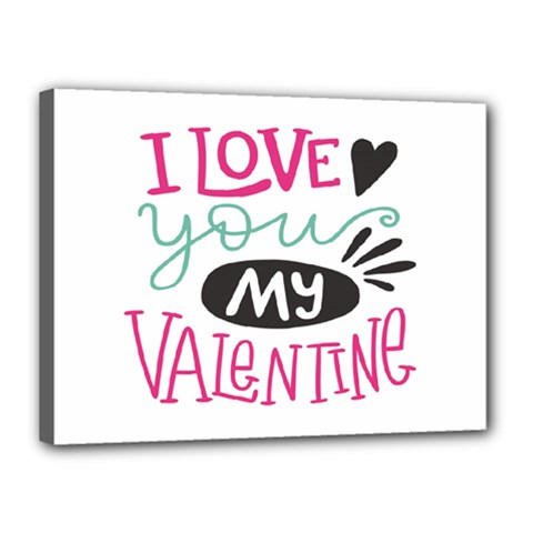 I Love You My Valentine (white) Our Two Hearts Pattern (white) Canvas 16  X 12  by FashionFling