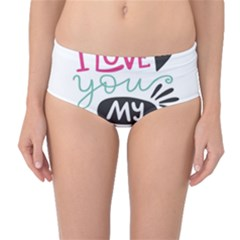 I Love You My Valentine (white) Our Two Hearts Pattern (white) Mid-waist Bikini Bottoms by FashionFling