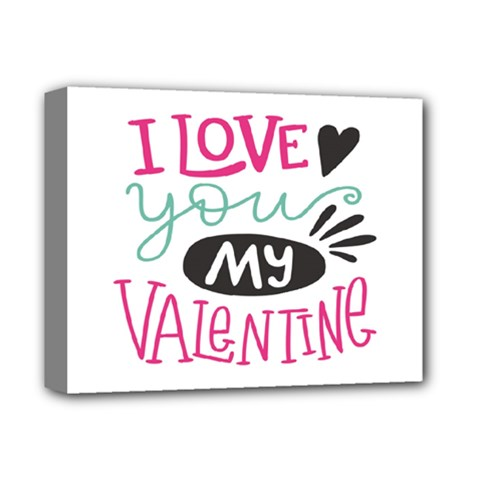 I Love You My Valentine (white) Our Two Hearts Pattern (white) Deluxe Canvas 14  X 11  by FashionFling
